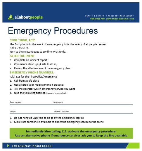Flip Charts for Emergency Procedures and Safe Operating Procedures ...